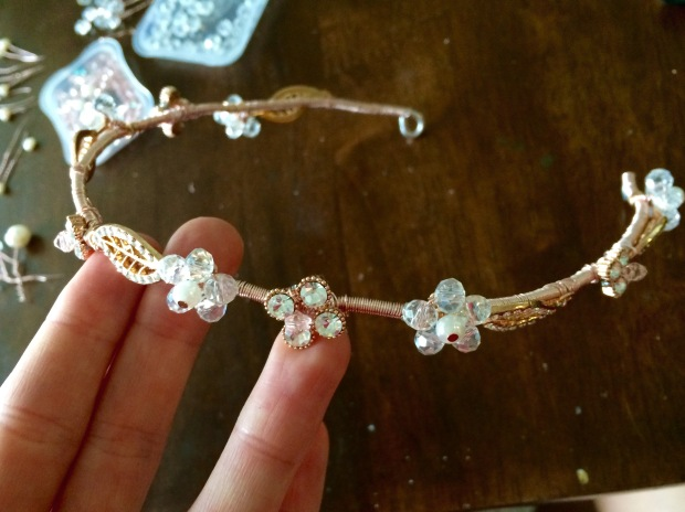 The fun part was decorating the halo with all the little pearls and crystals.