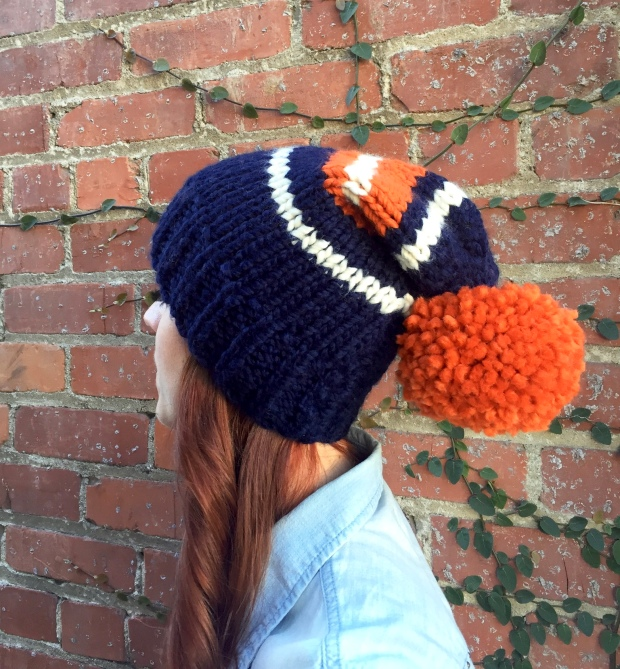 Navy, Orange, and Cream Slouchy Beanie. Preppy, classic, and fun!