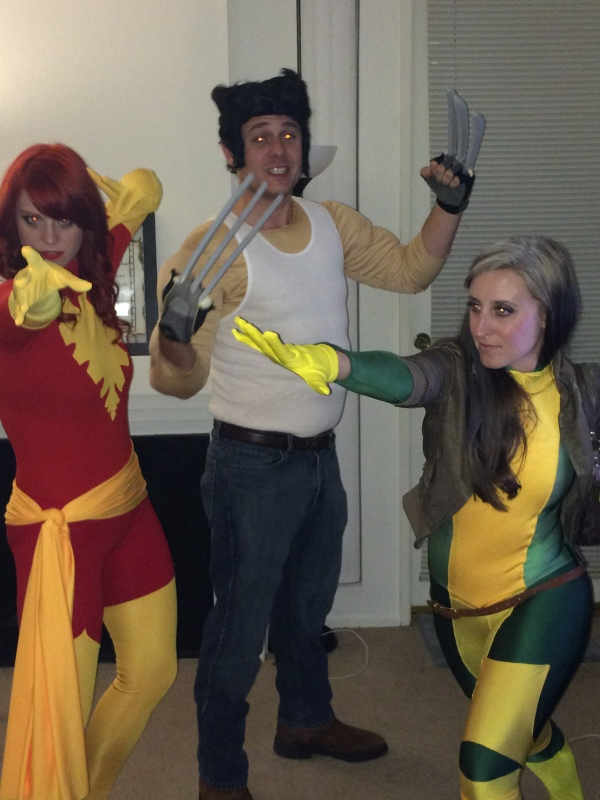 The X-Men! (from left to right) Laura as Phoenix, Jacob as Wolverine, and Hilaree as Rogue.